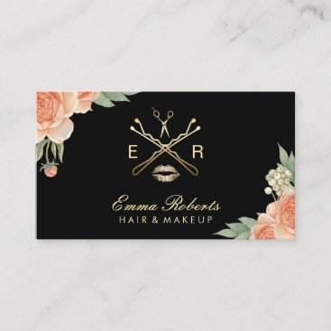 Makeup Artist Hair Stylist Vintage Floral Elegant Business Card