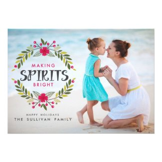 Making Spirits Bright Wreath Photo Flat Card Template