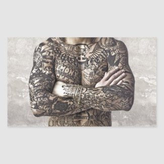 Male Body Tattoo Photograph Rectangle Stickers