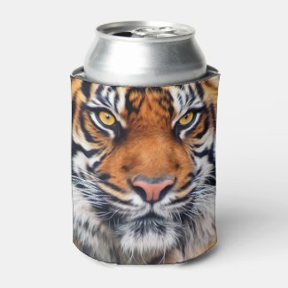Male Siberian Tiger Paint Photograph Can Cooler