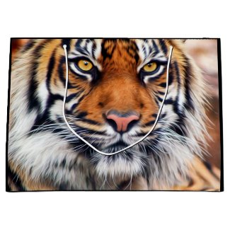 Male Siberian Tiger Paint Photograph Large Gift Bag