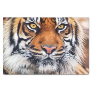 Male Siberian Tiger Paint Photograph Tissue Paper