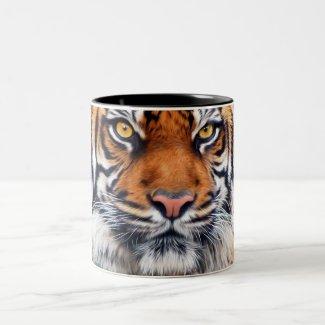 Male Siberian Tiger Paint Photograph Two-Tone Coffee Mug