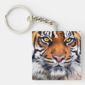 Male Siberian Tiger Square Acrylic Keychains