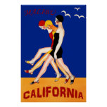 Malibu, California, swimmers, vintage travel Poster