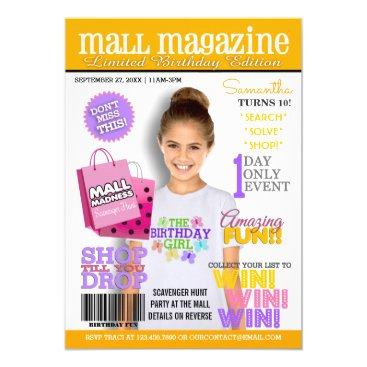 Mall Scavenger Hunt Birthday Party Invitation