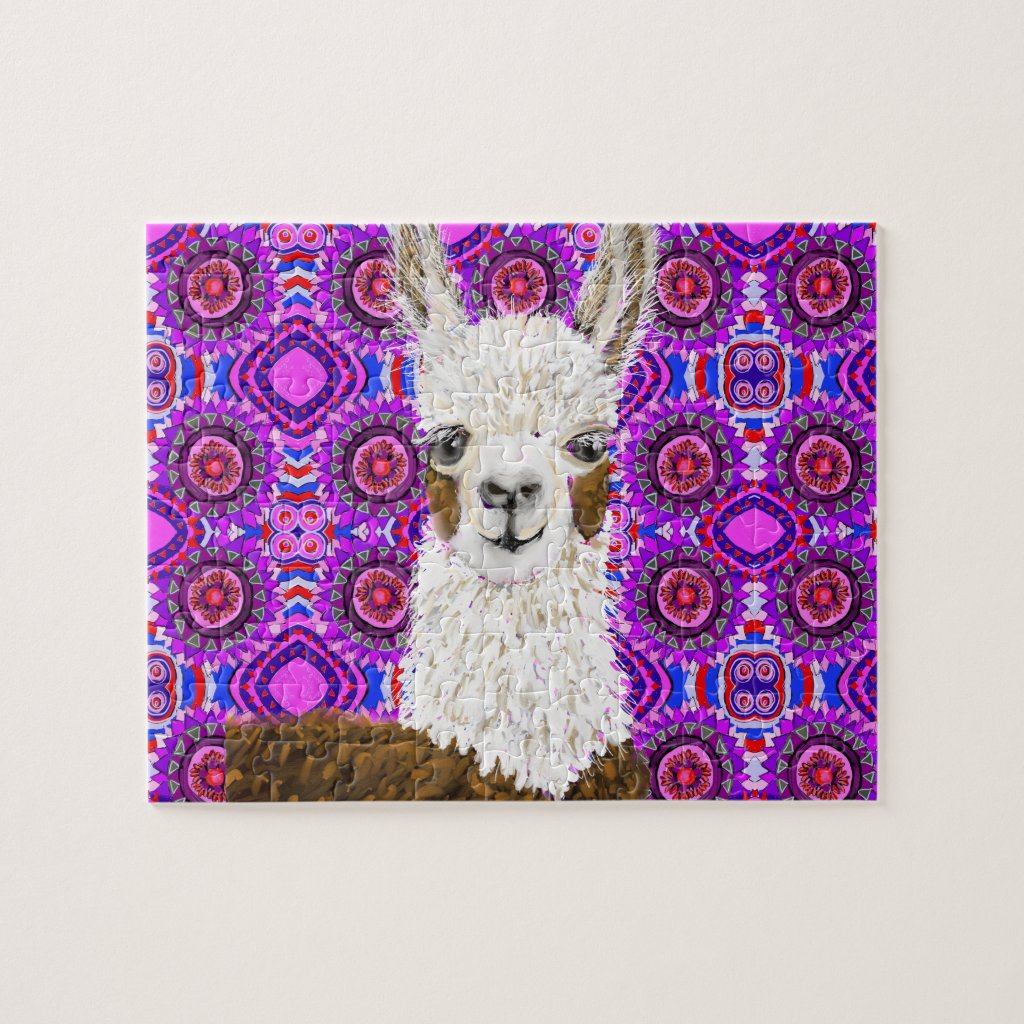 Mama Llama Living In Purple Jigsaw Puzzle