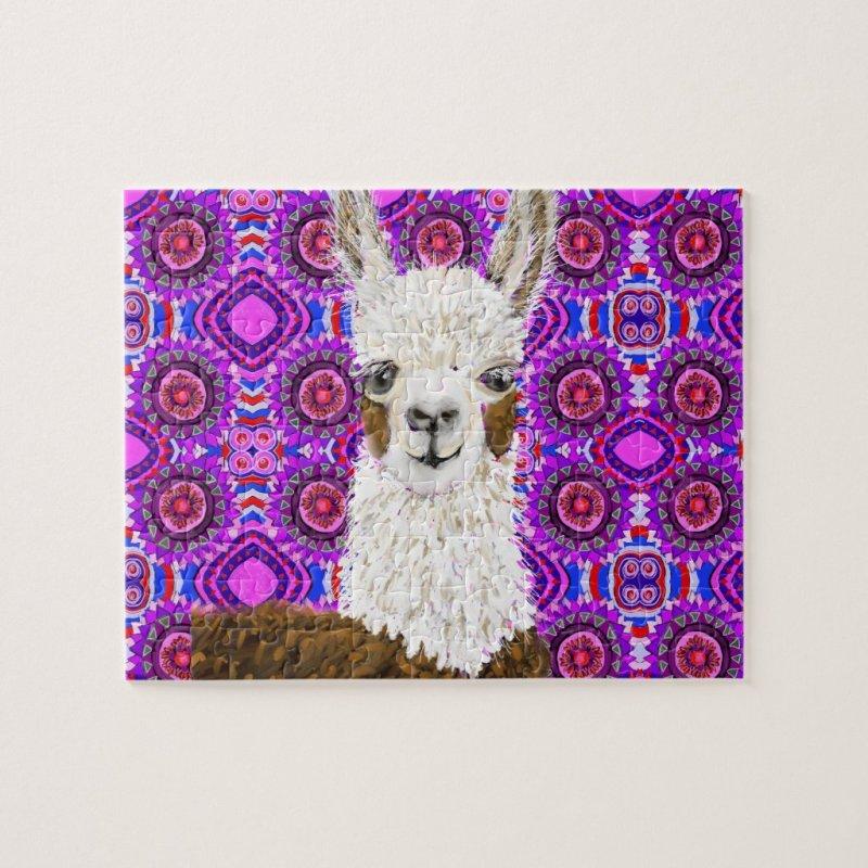 Mama Llama Living In Purple Jigsaw Puzzle