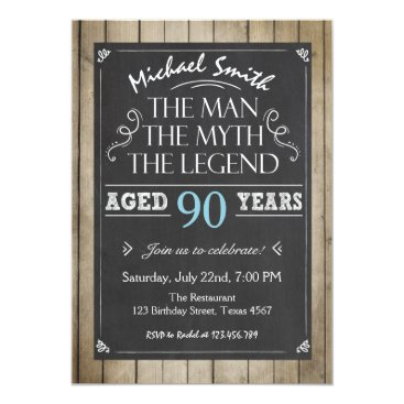Man Birthday invitation Chalkboard Rustic Adult 90