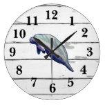 Manatee Florida Wildlife Decor Rustic Shiplap Large Clock