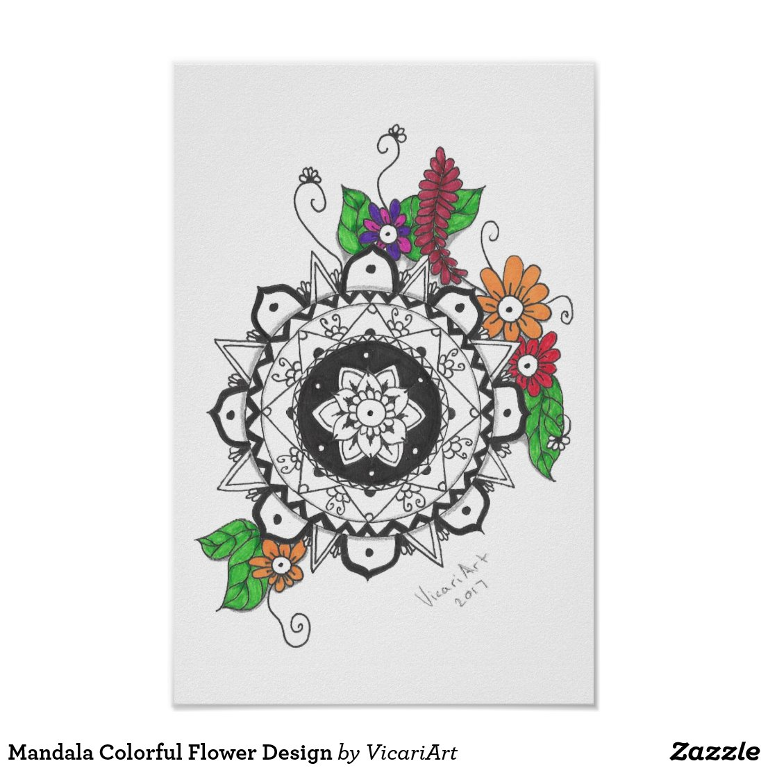 Mandala Colorful Flower Design Poster