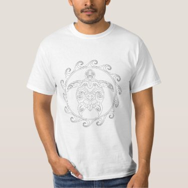 Maori Sun Tribal Turtle Adult Coloring Shirt