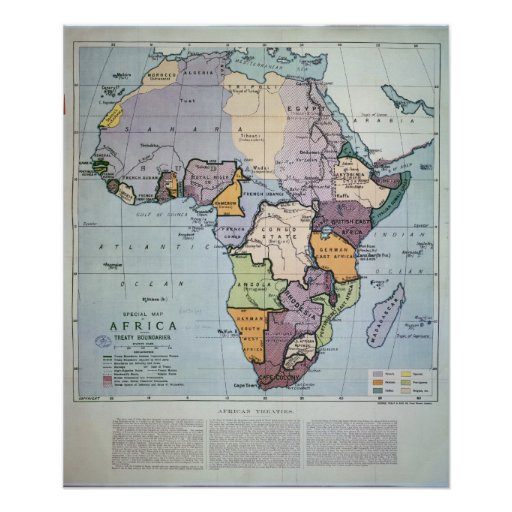 Map of Africa showing Treaty Boundaries, 1891 Print