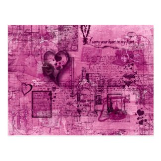 Map of the Heart (Rose Pink) Postcard