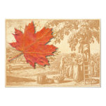 Maple Leaf and Old Harvest Engraving Invitation