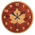 Maple Leaf On Inner Birch Bark Large Clock