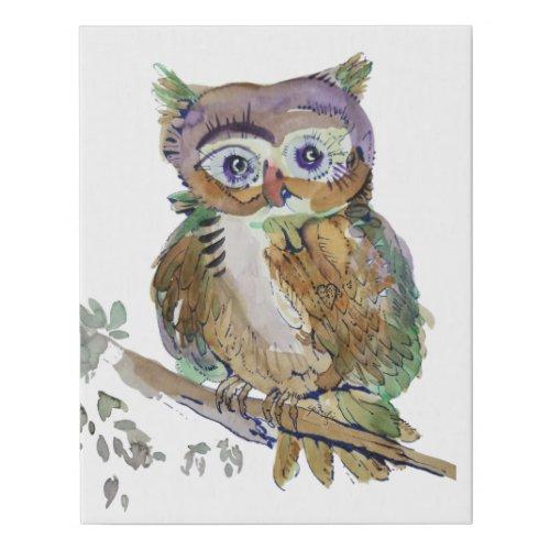 Marbelous Woot Owl Faux Canvas Print