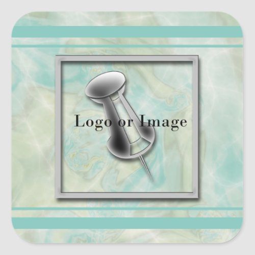 Marbled Teal Logo Square Sticker