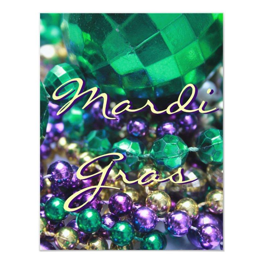 Mardi Gras Bead Throws Custom Invite Party Cards