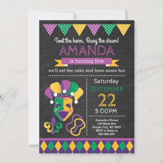 mardi gras birthday invitation zazzle com