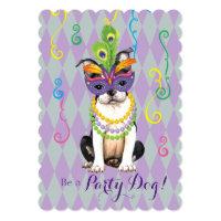Mardi Gras Boston Terrier Card