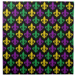 Mardi Gras Green Gold and Purple Fleur-de-lis Napkin