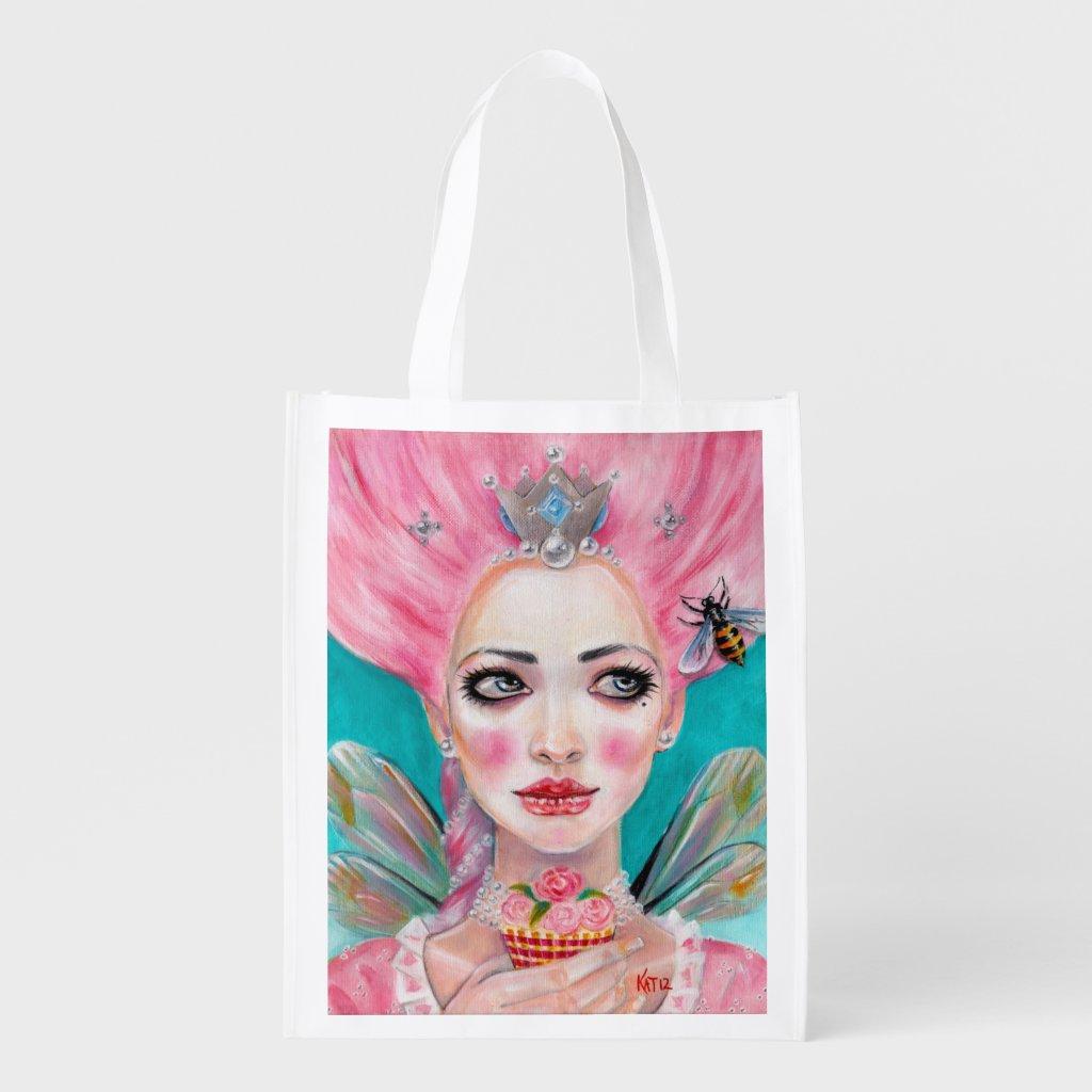 Marie Antoinette Let Them Eat Cupcake - Pink Hair Reusable Grocery Bag