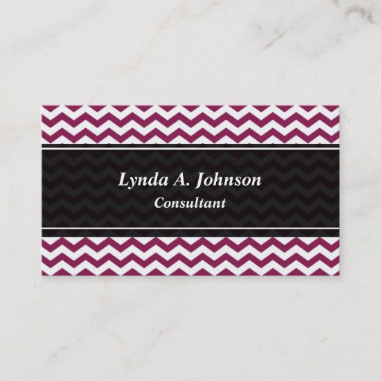 Maroon Black Chevron Professional Business Card