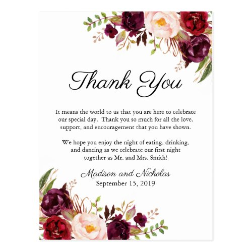 Marsala & Pink Floral Place Setting Thank You Card
