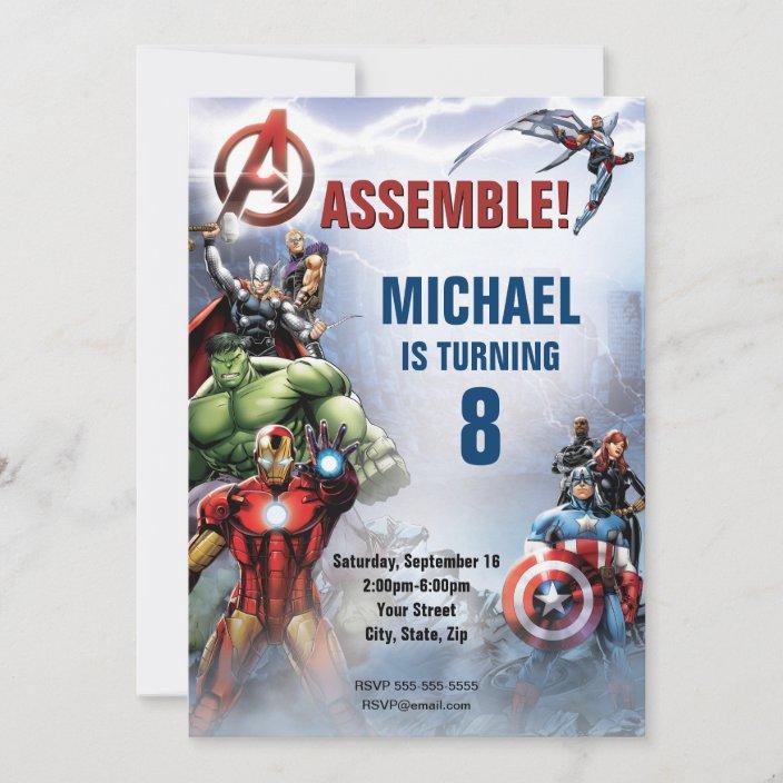 marvel avengers birthday invitation zazzle com