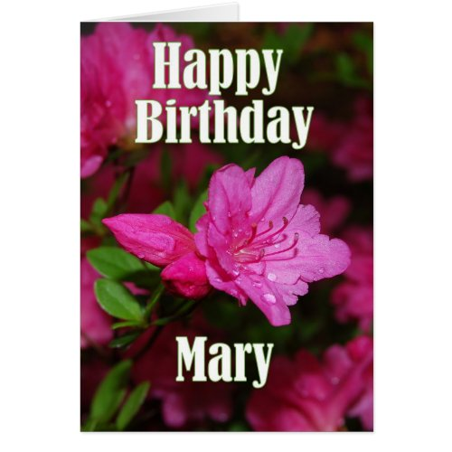 Mary Pink Azalea Happy Birthday Greeting Card