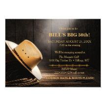 Masculine Rustic Cowboy Hat Rope Wood  Western Card
