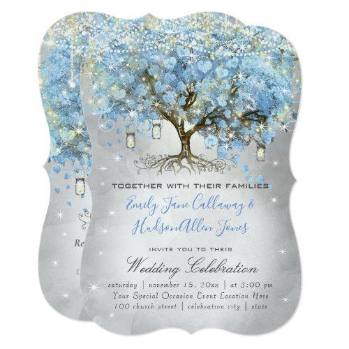 Mason Jar Blue Silver Heart Leaf Tree Fairy Lights Invitation