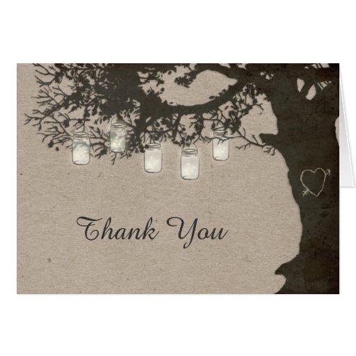 Mason Jar String Lights Rustic Tree Thank You Card