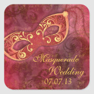 Masquerade Ball Mardi Gras Wedding Envelope Seal Square Stickers