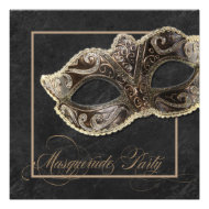 Masquerade Party Invitation - Bronze, gold & black