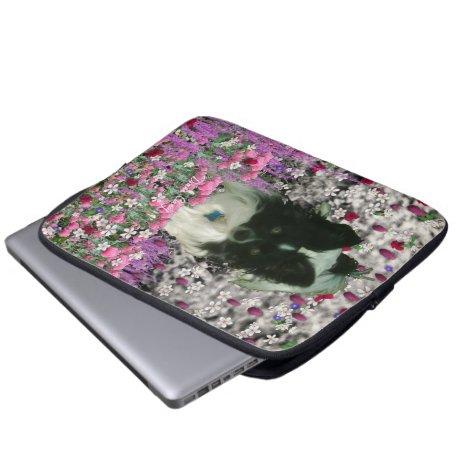 Matisse in Flowers - White & Black Papillon Dog Laptop Sleeve