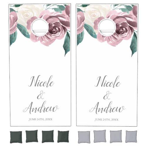 Mauve Watercolor Roses Floral Wedding Personalized Cornhole Set