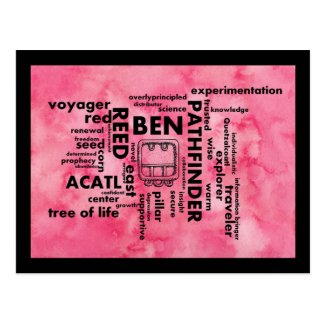 Mayan-Aztec birthday word cloud Ben-Acatl Postcard