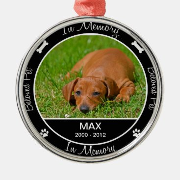 Memorial - Loss of Dog- Custom Photo/Name Metal Ornament