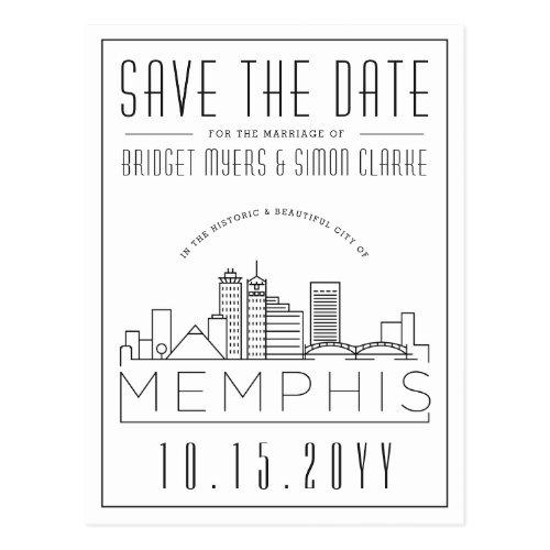 Memphis Wedding   Stylized Skyline Save the Date Postcard