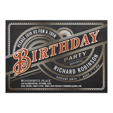 Men's Birthday Party Invitations - Retro Vintage