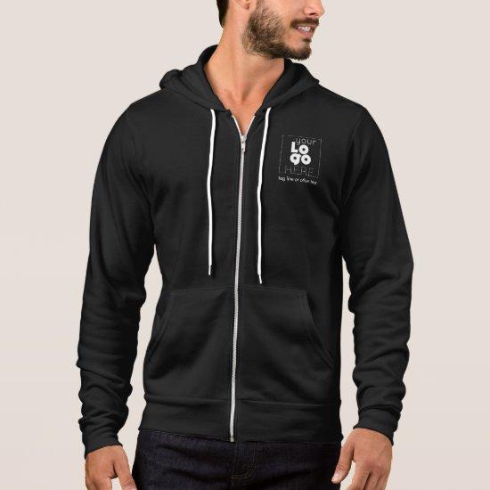 Mens Black Business Zip Hoodie + Custom White Logo