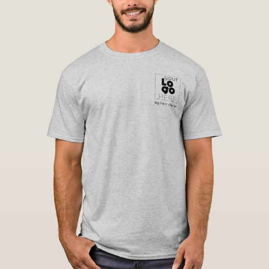 Mens Grey T-Shirt WIth Custom Black Business Logo