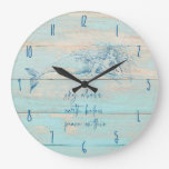 Mermaid Affirmation Rustic Beach Wood Coastal Large Clock