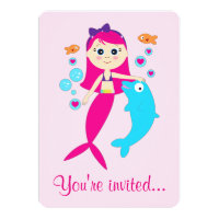 Mermaid and Dolphin Birthday Party Invitation