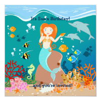 Mermaid and dolphins birthday party invitation