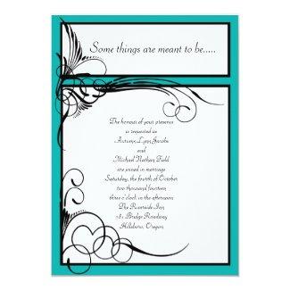 Mermaid Blue Floral Wedding Invitations