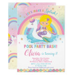 Mermaid Unicorn Pool Party Birthday Blonde Invitation (available in other mermaid styles)
