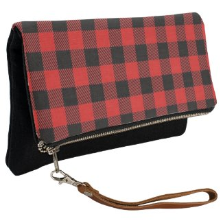 Merry and Bright Red and Black Plaid Clutch Wallet